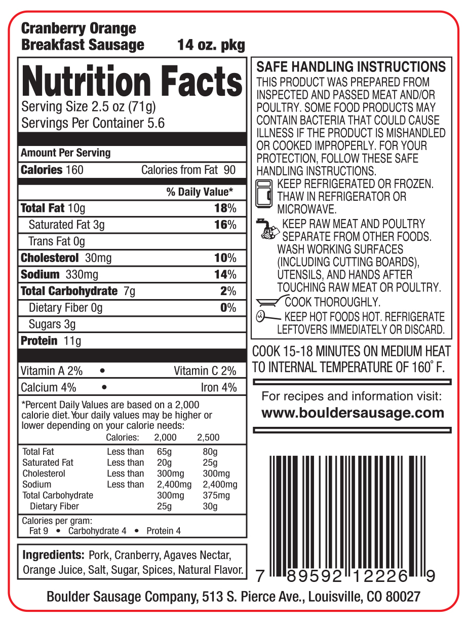 ingredients and nutrition labels - boulder sausage